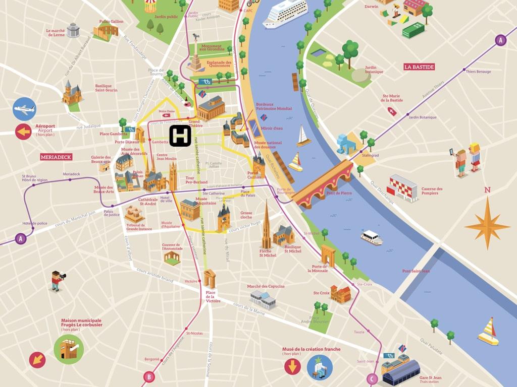 Carte des sites touristiques à Bordeaux